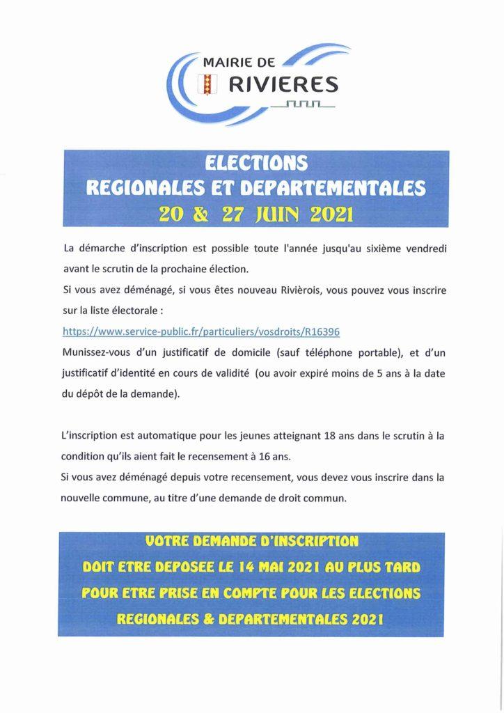 ELECTIONS REGIONALES ET DEPARTEMENTALES