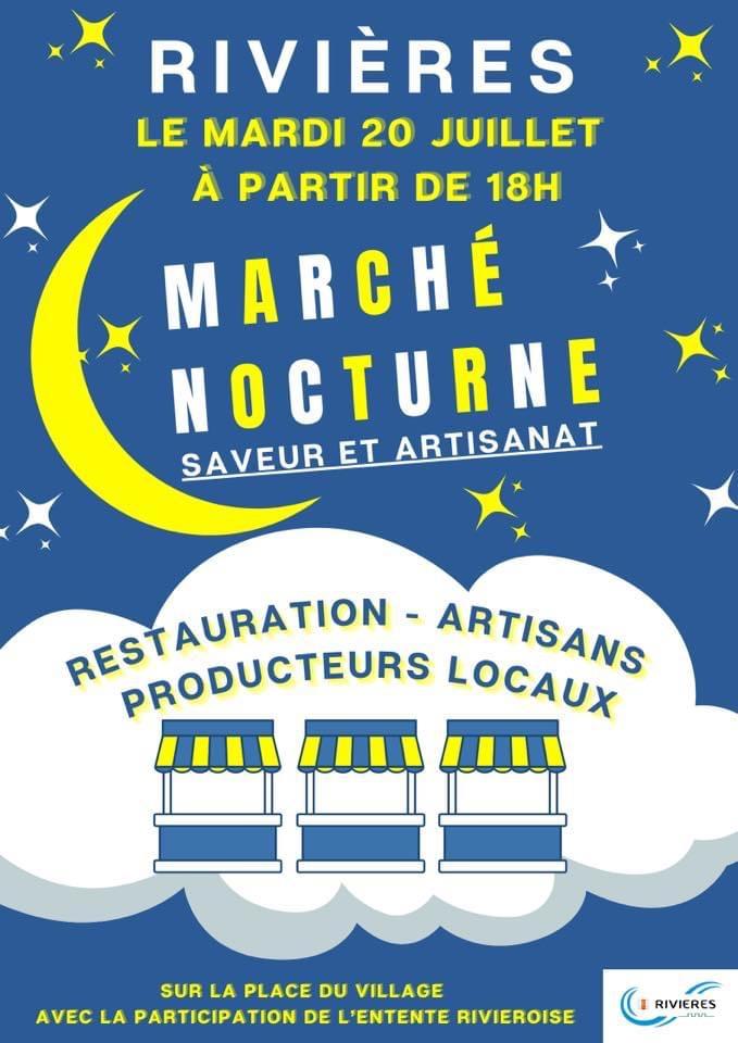 Premier marché nocturne le mardi 20 juillet  sur la place du village