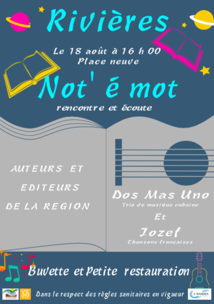 Le mercredi 18 août               Soirée culturelle autour du livre et de la musique